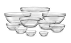 Duralex Lys Nesting Glass Bowl Set