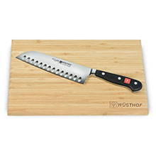 Wusthof Classic Hollow Edge Santoku Knife with Board