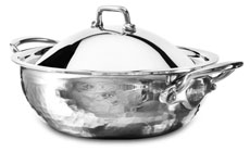 Mauviel M'elite Hammered Stainless Steel Casserole