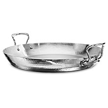 Mauviel M'elite Hammered Stainless Steel Paella Pan