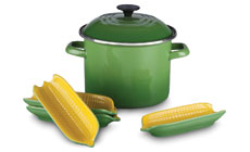 Le Creuset Enameled Steel Stock Pot with 4 Stoneware Corn Servers