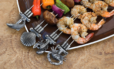 Charcoal Companion Double Prong Coastal Grilling Kabob Skewers Set