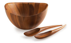 Nambe Harmony Acacia Wood Salad Bowl with Servers