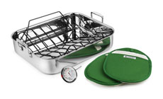Le Creuset Stainless Steel Roasting Pan with Rack, Bonus Pot Holders & Thermometer