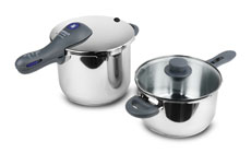 WMF Perfect Plus 6.5 & 4.5-quart Stainless Steel Pressure Cooker Set with Bonus Glass Lid
