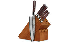 Mcusta Zanmai Ripple Damascus 6-piece Knife Block Sets
