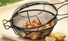 Outset Nonstick Deep Grill Basket with Skillet Lid