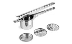 Browne Heavy-Duty Stainless Steel Ricer, Masher & Juicer with 3 Removable Disks
