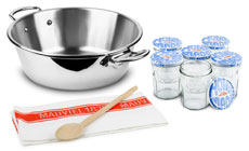 Mauviel M'cook Stainless Steel Jam Pan Set with 6 Jars, Wooden Spoon & Towel
