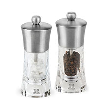 Peugeot Ouessant Stainless Steel & Acrylic Salt & Pepper Mill Set