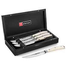 Wusthof Classic Ikon Creme Steak Knife Set with Black Presentation Case