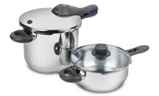 WMF Perfect Plus 6.5 & 3-quart Stainless Steel Pressure Cooker Set with Bonus Glass Lid