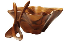 Nambe Coral Wooden Salad Bowl with Servers