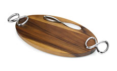 Nambe Infinity Wooden Cheese Board with Knife