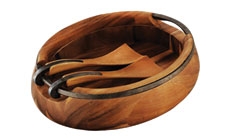 Nambe Anvil Wooden Oval Salad Bowl with Servers