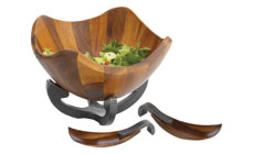 Nambe Anvil Scroll Wooden Salad Bowl with Servers