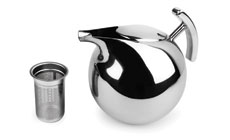 Nambe Kurl Stainless Steel Tea Pot with Infuser