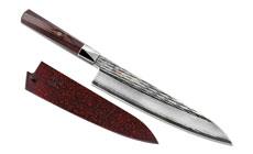 Mcusta Zanmai Ripple Damascus Chef's Knives with Saya