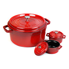 Staub 5½-quart Round Dutch Oven with Two Mini Cast Iron Cocottes
