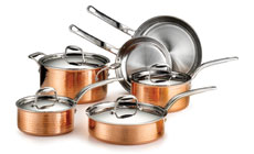 Lagostina Martellata Tri-Ply Hammered Copper Cookware Set