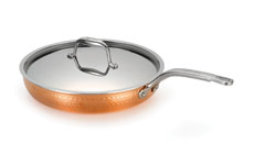 Lagostina Martellata Tri-Ply Hammered Copper Covered Skillet