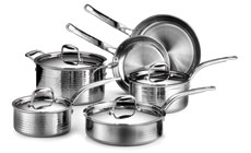 Lagostina Martellata Tri-Ply Hammered Stainless Steel Cookware Set