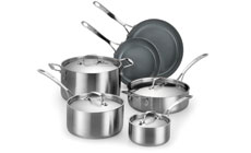 Lagostina Axia Tri-Ply Ceramic Nonstick Stainless Steel Cookware Set