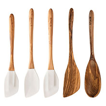 Staub 5-piece Olive Wood & Silicone Spatula Sets