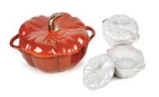 Staub 3½-quart Cast Iron Pumpkin Cocotte with Two Ceramic Rustic Ivory Petite Pumpkin Cocottes
