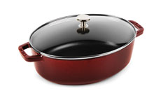 Staub 4¼-quart Shallow Oval Cast Iron Cocottes with Glass Lid