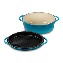 Le Creuset Cast Iron 4¾-quart Oval Ovens with Reversible Grill Pan Lid