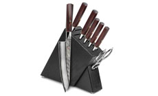 Mcusta Zanmai Ripple Damascus 8-piece Slim Knife Block Sets