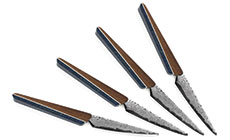 'Tojiro Standing Table Knife with Walnut/Indigo Handle Set' from the web at 'http://cdn.cutleryandmore.com/products/small/36949.jpg'
